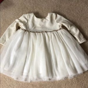 Holiday dress 18mo ivory and gold